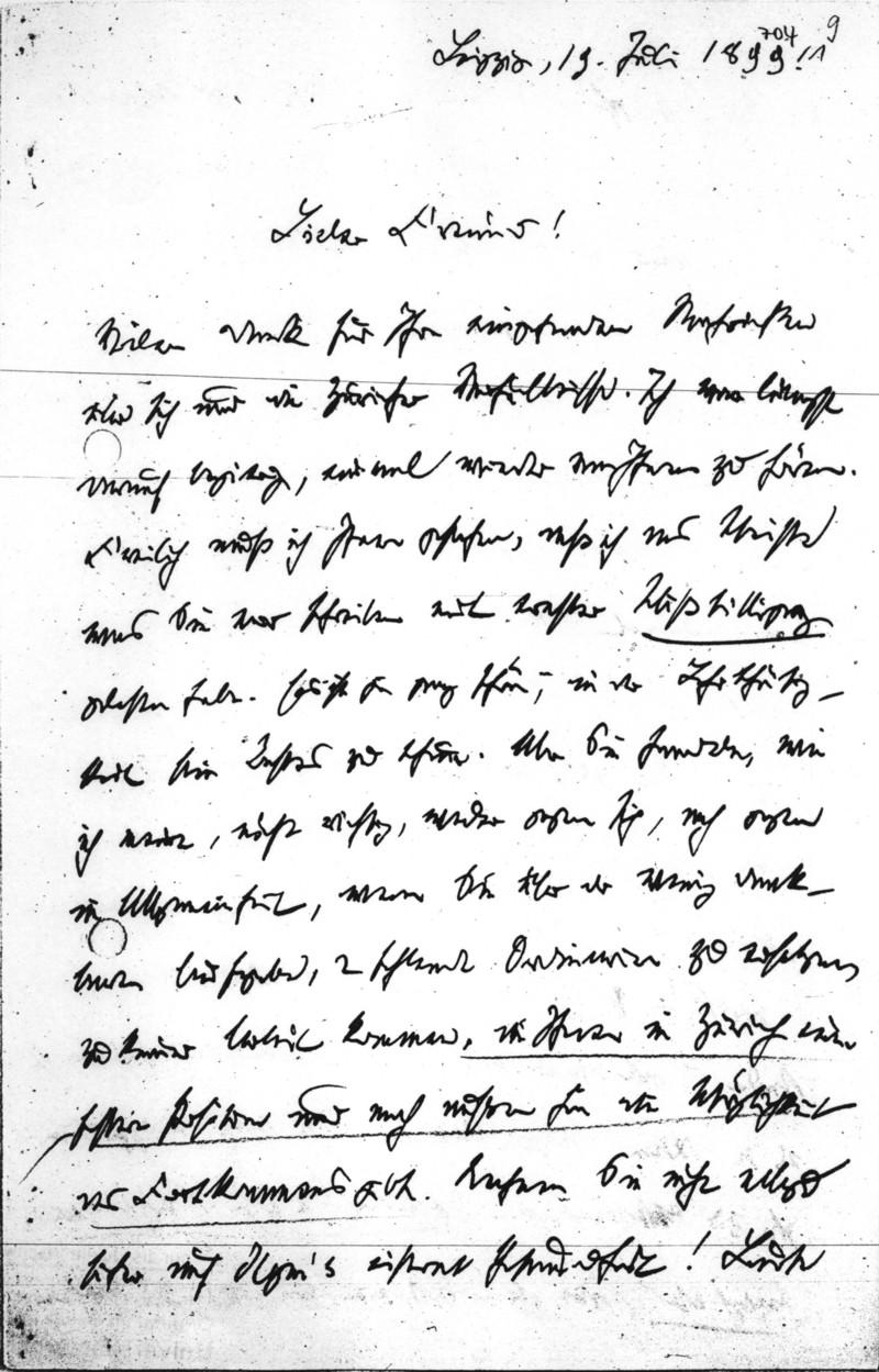 Brief an E. Meumann vom 19. Juli 1899 - Handschrift